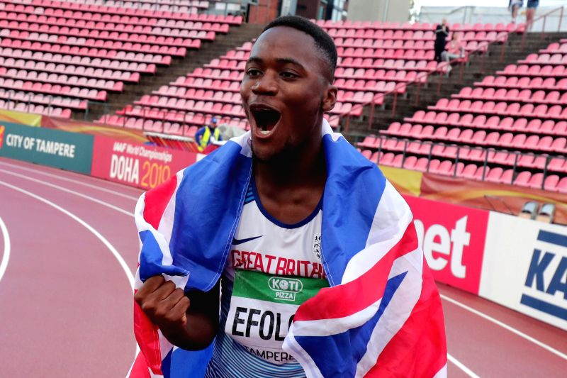 TAMPERE, July 14, 2018 - Jona Efoloko of Britain celebrates after winning men's 200 meters at the IAAF  World U20 Championships in Tampere, Finland on July 13, 2018. Efoloko won the gold medal with ...
