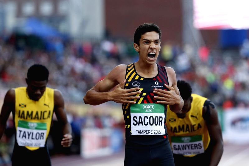 TAMPERE, July 14, 2018 - Jonathan Sacoor (C) of Belgium celebrates after winning men's 400 meters at the IAAF  World U20 Championships in Tampere, Finland on July 13, 2018. Sacoor won the gold medal ...
