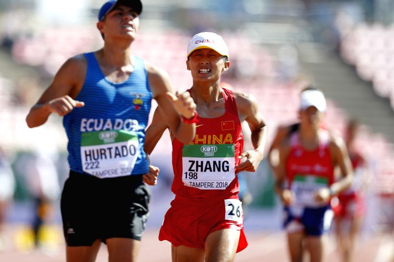 TAMPERE, July 14, 2018 - Zhang Yao(C) of China competes during the Men's 10,000 Metres Race Walk final at the IAAF (International Association of Athletics Federations) World U20 Championships in ...
