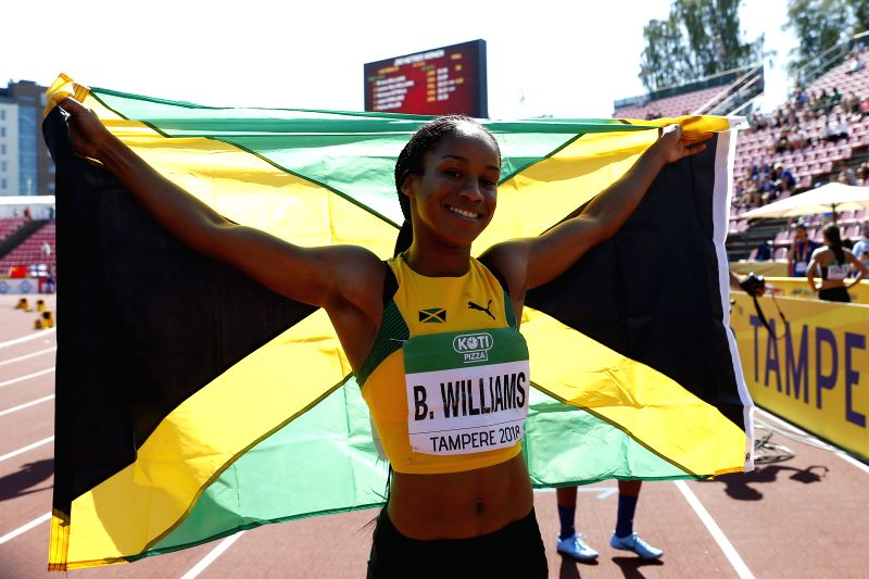 TAMPERE, July 15, 2018 - Briana Williams of Jamaica celebrates after winning the Women's 200 Meters Final at the IAAF World U20 Championships in Tampere, Finland on July 14, 2018. Briana Williams won ...