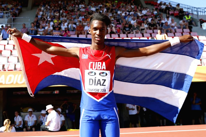 TAMPERE, July 15, 2018 - Jordan A. Diaz of Cuba celebrates after the Men's Triple Jump Final at the IAAF World U20 Championships in Tampere, Finland, on July 14, 2018. Diaz won the gold medal with ...