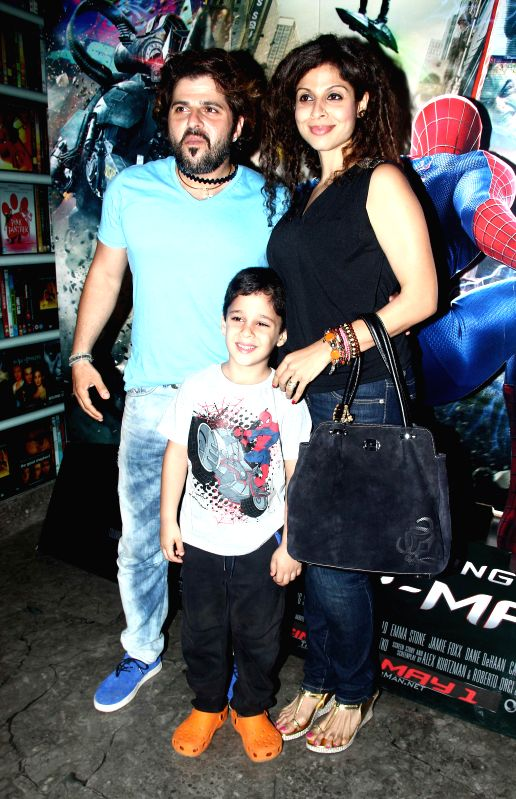 Tanaz and Bakthiyar Irani during the screening of Hollywood film The Amazing Spider-Man 2 in Mumbai, on April 29, 2014. - Bakthiyar Irani