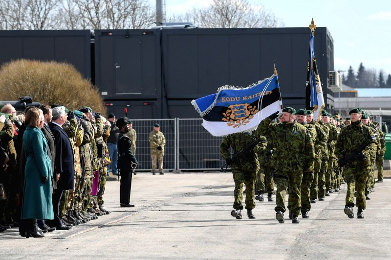 TAPA (ESTONIA), April 21, 2017 Estonian soldiers march in parade at the ceremony to mark the beginning of services of the NATO battalion battle group at the Tapa Army Base in northern ...