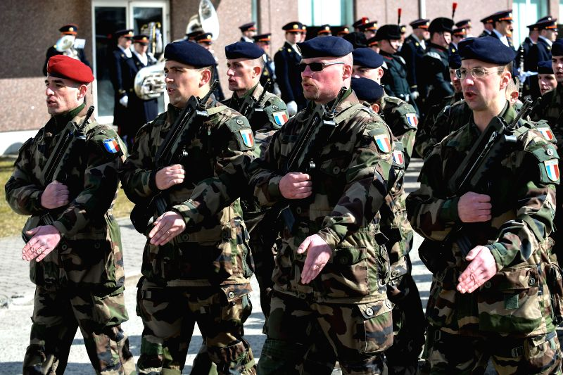 TAPA (ESTONIA), April 21, 2017 French soldiers march in parade at the ceremony to mark the beginning of services of the NATO battalion battle group at the Tapa Army Base in northern ...