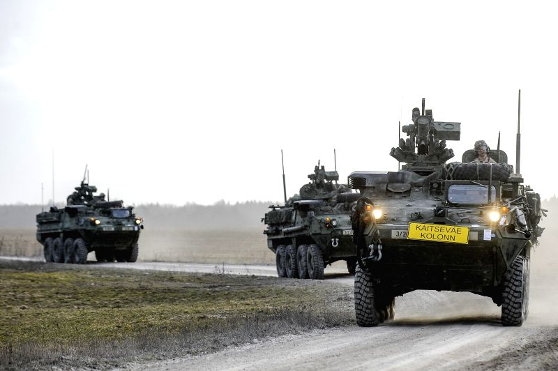 U.S. Army's 2nd Cavalry Regiment motorcade leave their temporary base in Tapa of Estonia, on March 21, 2015. With more than 40 units of military equipments, the U.S. ...