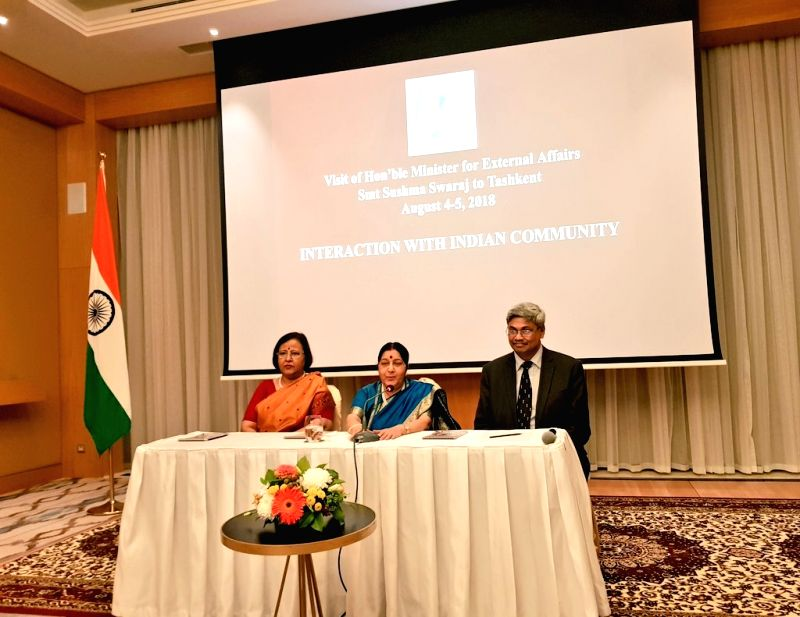Tashkent: External Affairs Minister Sushma Swaraj addresses the Indian community in Tashkent, Uzbekistan on Aug 4, 2018. - Sushma Swaraj