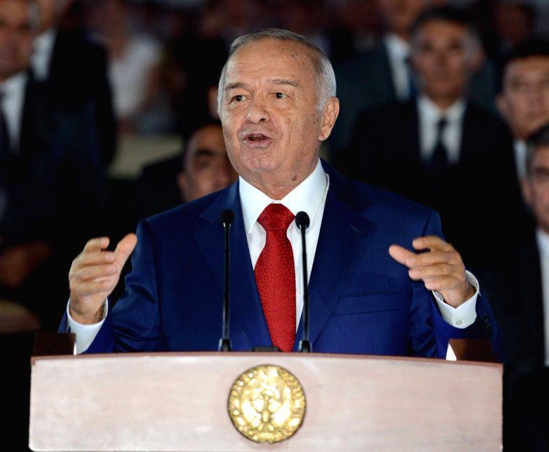 Uzbek President Islam Karimov delivers a speech during the Independence Day celebration in Tashkent, capital of Uzbekistan, on Aug. 31, 2014. Uzbekistan celebrated