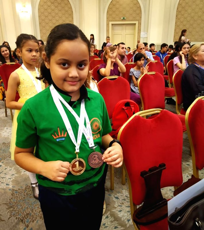 Tashkent: Tripura's chess genius Arshiya Das won a gold and a bronze medal at the Asian School Chess Championship in Uzbekistan capital Tashkent. Arshiya, a student of Class three in Agartala's Holy Cross School is currently the national champion in