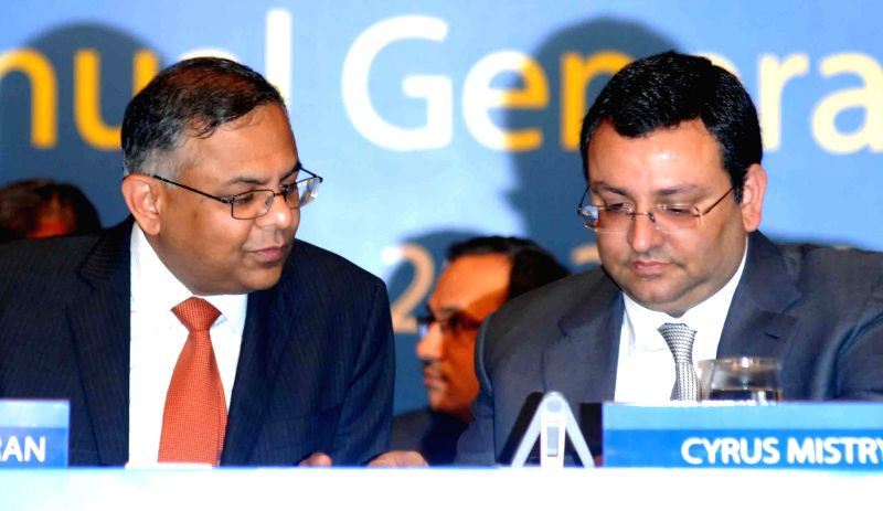 Tata Consultancy Services ( TCS) CEO N Chandrasekaran and Tata Group Chairman Cyrus Mistry  during Annual General Meeting of TCS in Mumbai on June 27, 2014.