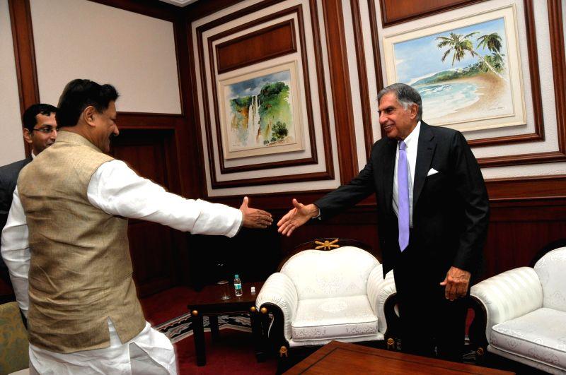 Tata group Chairman Emeritus Ratan Tata during a meeting with Maharashtra Chief Minister Prithviraj Chavan in Mumbai on May 6, 2014.