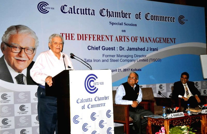 """Tata Iron and Steel Company Limited (TISCO) former Managing Director Dr Jamshed J Irani addresses during a special session on """"Different Arts of Management"""" organised by Calcutta ... - Jamshed J Irani"""