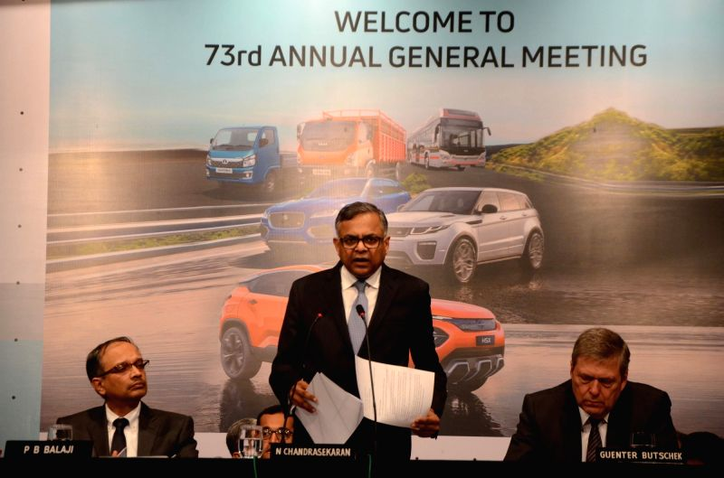 Tata Sons chairman N. Chandrasekaran addresses during the company's 73rd Annual General Meeting (AGM), in Mumbai, on Aug 3, 2018. Also seen Tata motors CEO and MD Guenter Butschek and chief ...