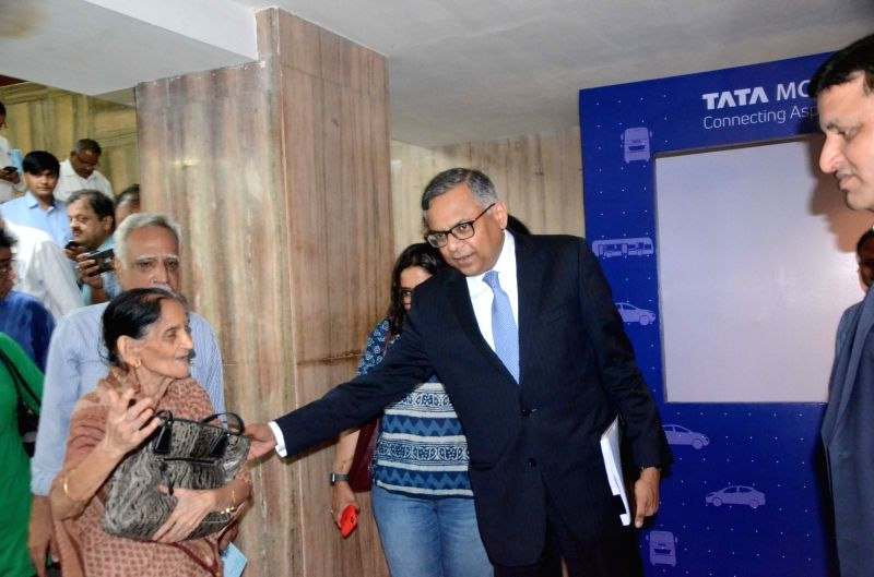 Tata Sons chairman N. Chandrasekaran arrives for the company's 73rd Annual General Meeting (AGM), in Mumbai, on  Aug 3, 2018
