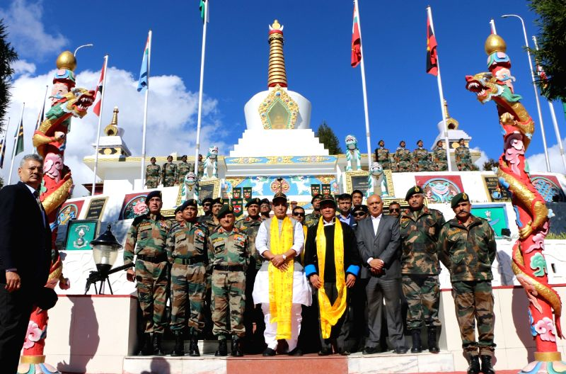 Tawang: Defence Minister Rajnath Singh with Arunachal Pradesh Chief Minister Pema Khandu during his visit to Tawang War Memorial, in Arunachal Pradesh's Tawang on Nov 14, 2019. (Photo: IANS/PIB)