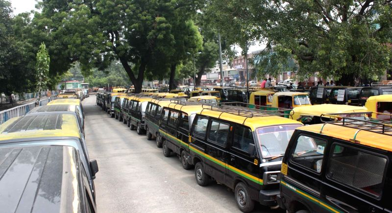 Taxis and Auto rickshaws remain off streets in Delhi during a strike called by various unions against the government policy to allow app-based auto and taxi services to operate in the ...