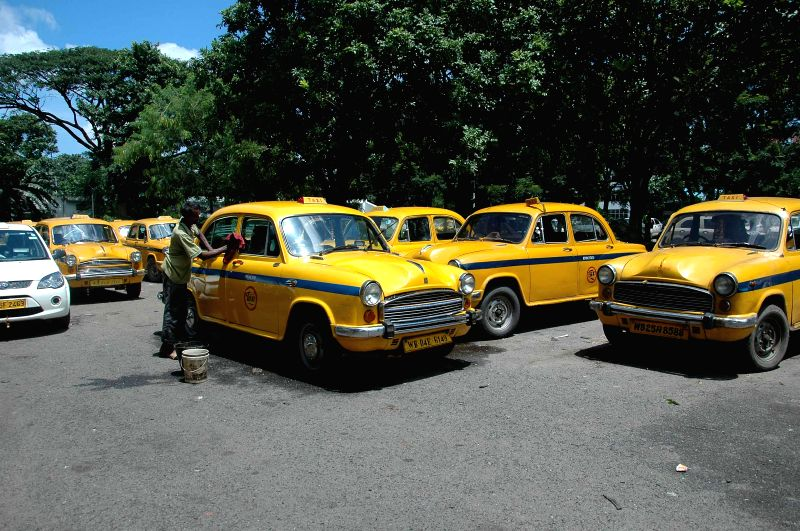 Taxis remained parked as taxi drivers go a strike  in Kolkata on Sept 3, 2014.