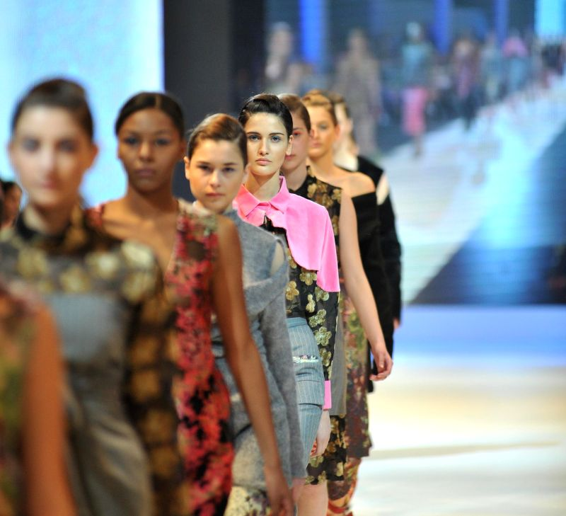 Models present creations by Georgian designer Mariam Gvasalia during the closing ceremony of Tbilisi Fashion Week in Tbilisi, capital of Georgia, on April 19, ...