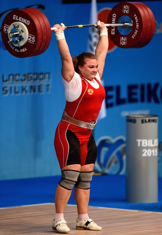 Tatiana Kashirina of Russia competes during the women's +75kg clean and jerk final of the European Weightlifting Championship in Tbilisi, Georgia, April 18, 2015. ...