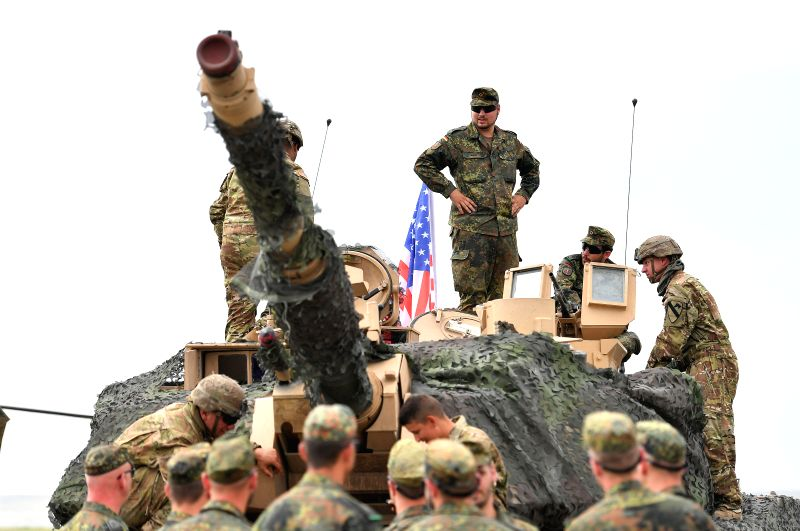 """TBILISI, Aug. 1, 2018 - Soldiers take part in the multinational military drill named """"Noble Partner 2018"""" at Vaziani base near Tbilisi, Georgia, Aug. 1, 2018. The 13-nation military ..."""