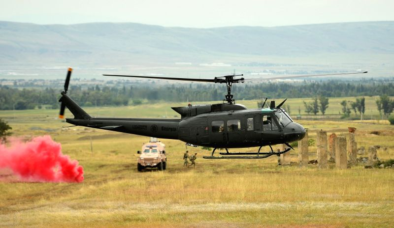 "TBILISI, Aug. 10, 2018 - A helicopter is seen during the combined field exercise of the multinational military drill named ""Noble Partner 2018"" at Vaziani base near Tbilisi, Georgia, Aug. ..."