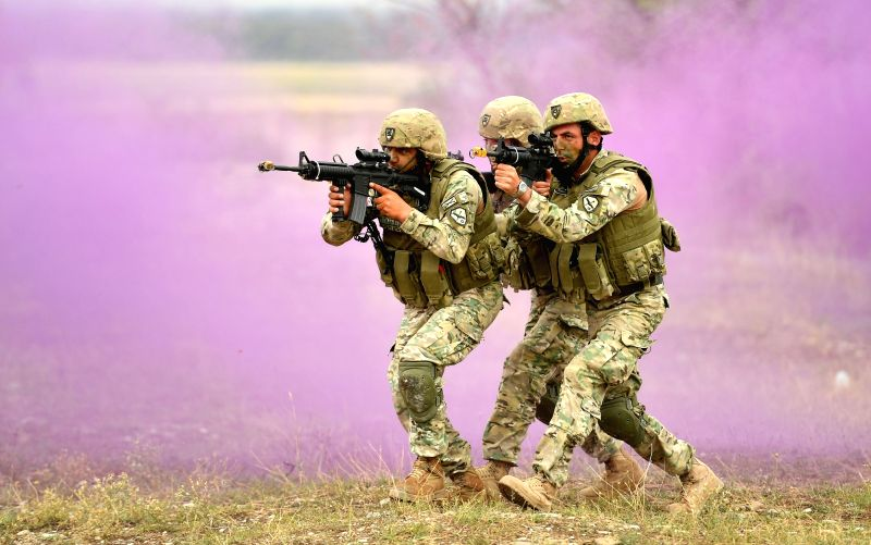 """TBILISI, Aug. 10, 2018 - Soldiers take part in the combined field exercise of the multinational military drill named """"Noble Partner 2018"""" at Vaziani base near Tbilisi, Georgia, Aug. 9, 2018."""