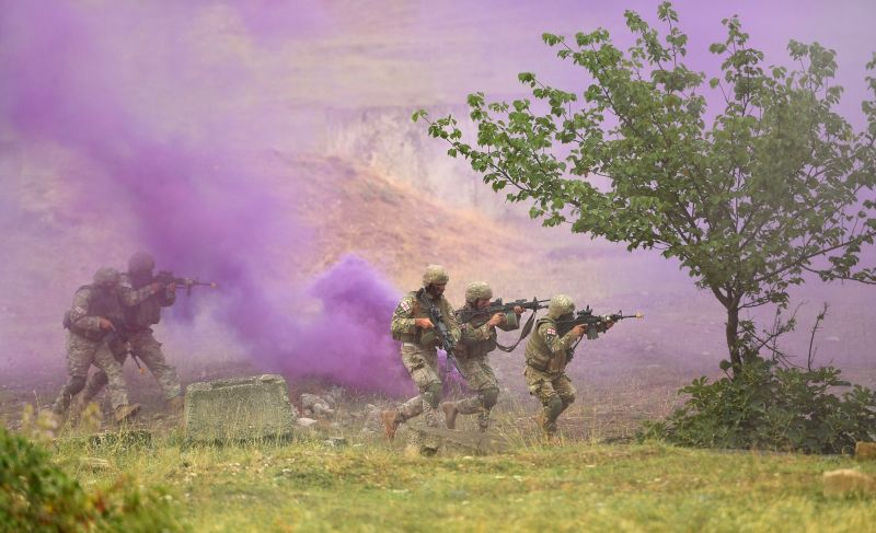 "TBILISI, Aug. 10, 2018 - Soldiers take part in the combined field exercise of the multinational military drill named ""Noble Partner 2018"" at Vaziani base near Tbilisi, Georgia, Aug. 9, 2018."