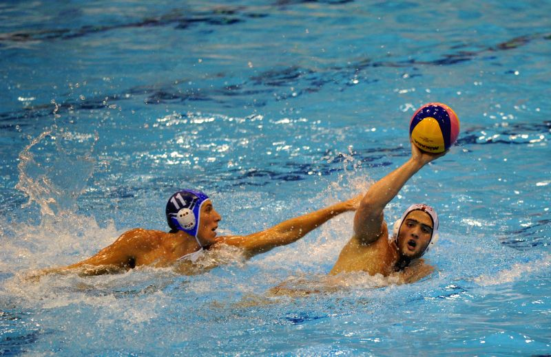 Kazakhishvili (R) of Georgia competes during the match between Greece and Georgia at the Men's Under-19 European Waterpolo Championship held in Tbilisi, Georgia, on