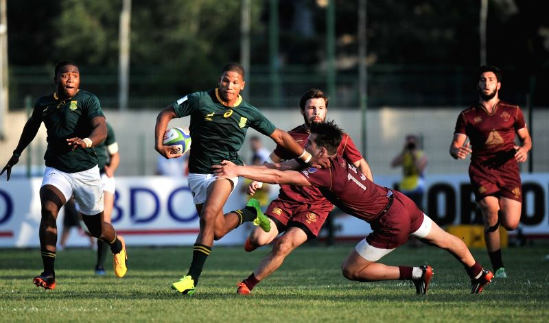 TBILISI, June 5, 2017 - South Africa's Manie Libbok (2nd L) competes during the match of the World Rugby U20 Championship between Georgia and South Africa in Tbilisi, Georgia, on June 4, 2017. South ...