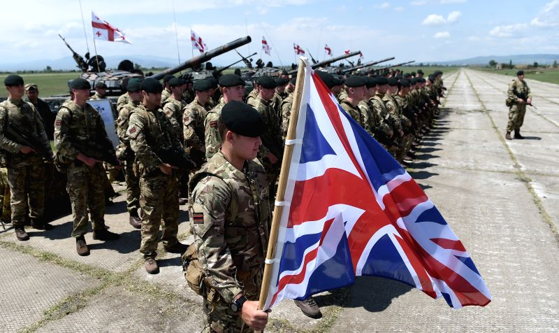 "TBILISI, May 12, 2016 - Soldiers from Georgia, the United States and Britain participate in the joint military exercises named ""Noble Partner 2016"" at Vaziani base in Tbilisi, Georgia, May ..."