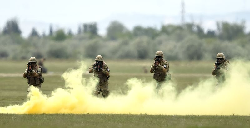 "TBILISI, May 12, 2016 - Soldiers participate in the joint military exercises named ""Noble Partner 2016"" at Vaziani base in Tbilisi, Georgia, May 11, 2016."