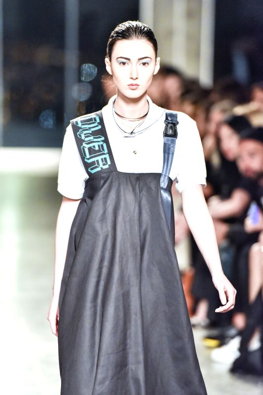 TBILISI, May 6, 2016 - A model presents a creation by Avtandil from Georgia during the Mercedes-Benz Fashion Week Fall/Winter 2016-17, in Tbilisi, capital of Georgia, on May 5, 2016.