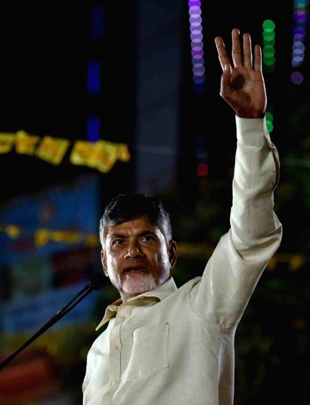 TDP leader and Andhra Pradesh Chief Minister N. Chandrababu Naidu addresses at a public meeting in Khammam, Telangana on Nov 28, 2018.(Image Source: IANS)