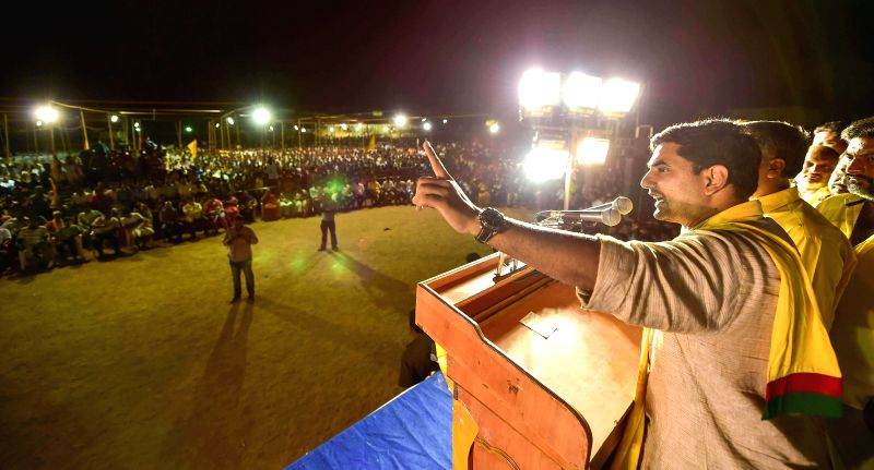 TDP leader Nara Lokesh during a rally in Chittoor district of Andhra Pradesh on May 5, 2014.