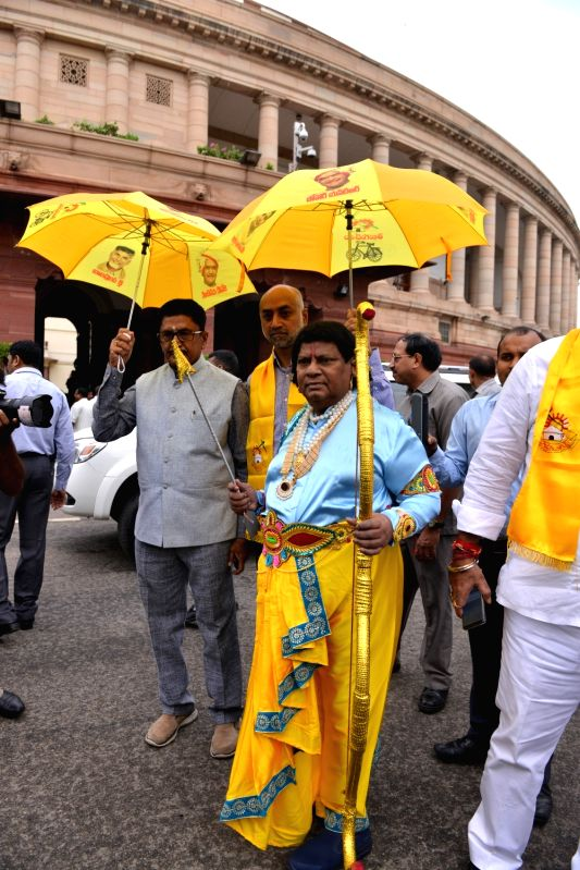 TDP MPs stage a demonstration to press for special status for Andhra Pradesh, at Parliament in New Delhi, on Aug 6, 2018.