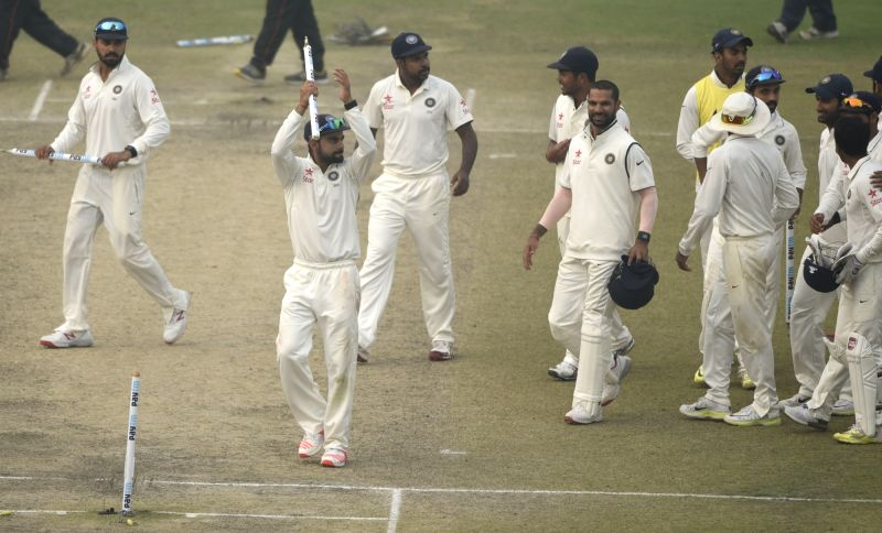 Team India celebrates after winning the Fourth and the final test match between India and South Africa at the Feroz Shah Kotla Stadium in New Delhi on Dec. 7, 2015.