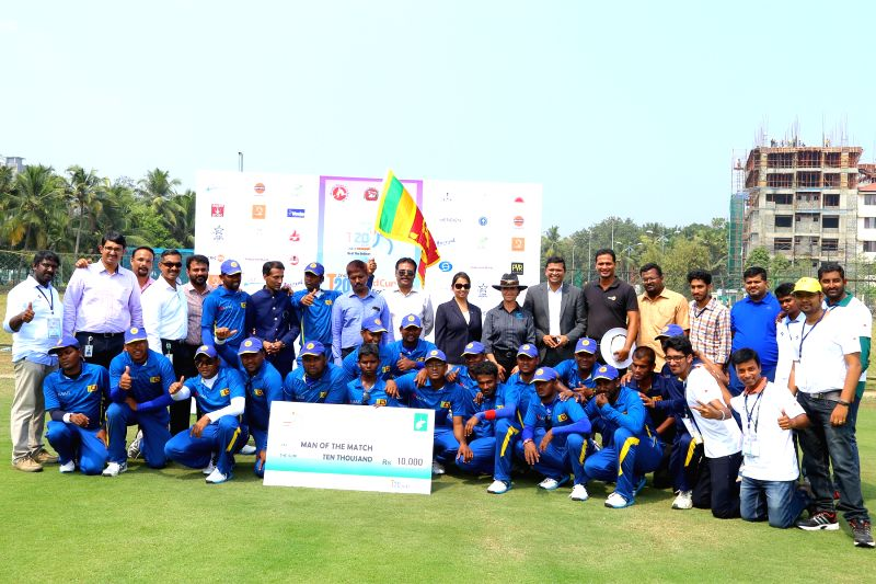 Team Sri Lanka after winning the match against Australian in Bengaluru on Feb 6, 2017.