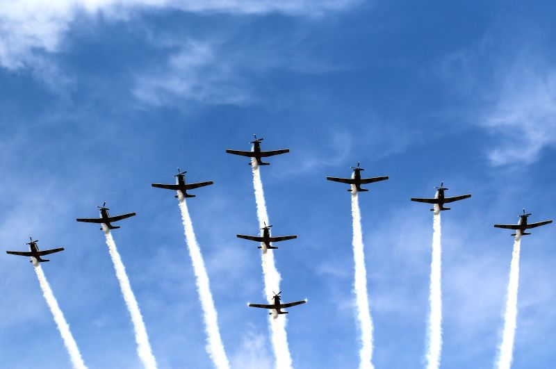 TECAMAC, April 30, 2017 - Planes fly in formation during the Mexico Aerospace Fair 2017 at Santa Lucia military air base in Tecamac, central Mexico, on April 29, 2017.