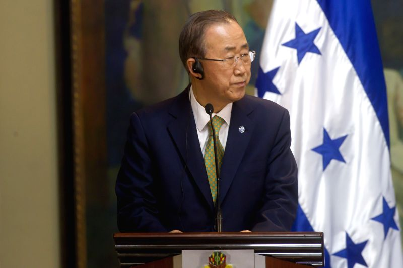 United Nations Secretary General Ban Ki-moon takes part in a joint press conference with Honduran President Juan Orlando Hernandez at Presidential House in ...