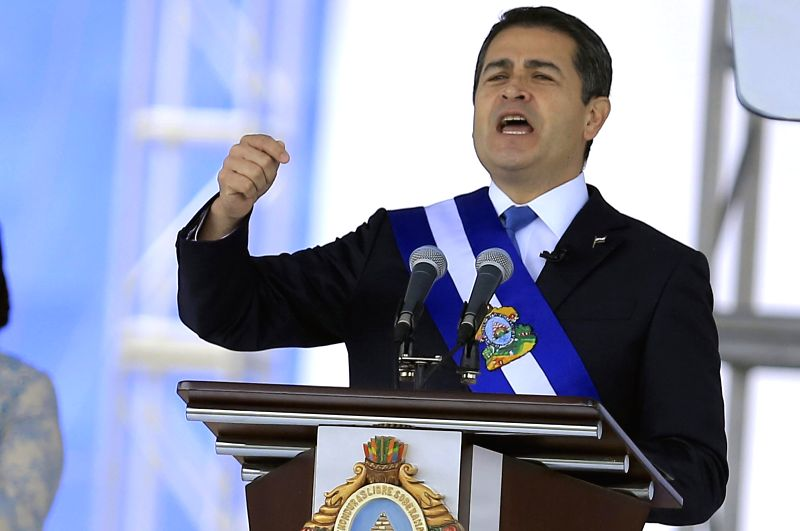 TEGUCIGALPA, Jan. 28, 2018 - Honduran President Juan Orlando Hernandez delivers a speech during his ceremony of inauguration in the National Stadium in Tegucigalpa, capital of Honduras, on Jan. 27, ...