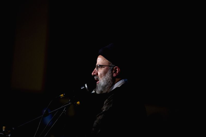 TEHRAN, April 30, 2017 - Presidential candidate Ebrahim Raisi speaks to his supporters during a campaign rally in Tehran, Iran, April 29, 2017. Iran's 12th presidential election is slated for May 19.