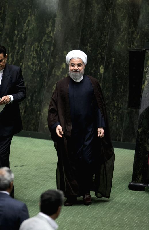 TEHRAN, Aug. 16, 2017 - Iranian President Hassan Rouhani attends a parliament meeting in Tehran, Iran, on Aug. 15, 2017. Iranian President Hassan Rouhani submitted the list of ministerial nominees on ...