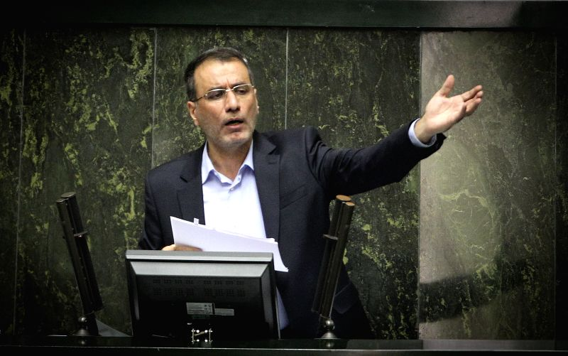 Iranian Minister for Science, Research and Technology Reza Faraji Dana addresses the parliament for his impeachment process at the Iranian Majlis, or Parliament, in .