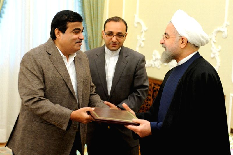 Tehran (Iran): The Union Minister for Road Transport and Highways, and Shipping Nitin Gadkari calls on President of Iran Dr. Mohsen Rouhani, in Tehran, during his visit to Iran.