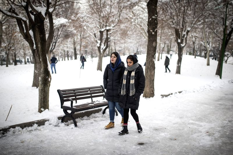 TEHRAN, Jan. 31, 2018 - Women walk in a park after a snowfall in Tehran, capital of Iran, on Jan. 30, 2018.