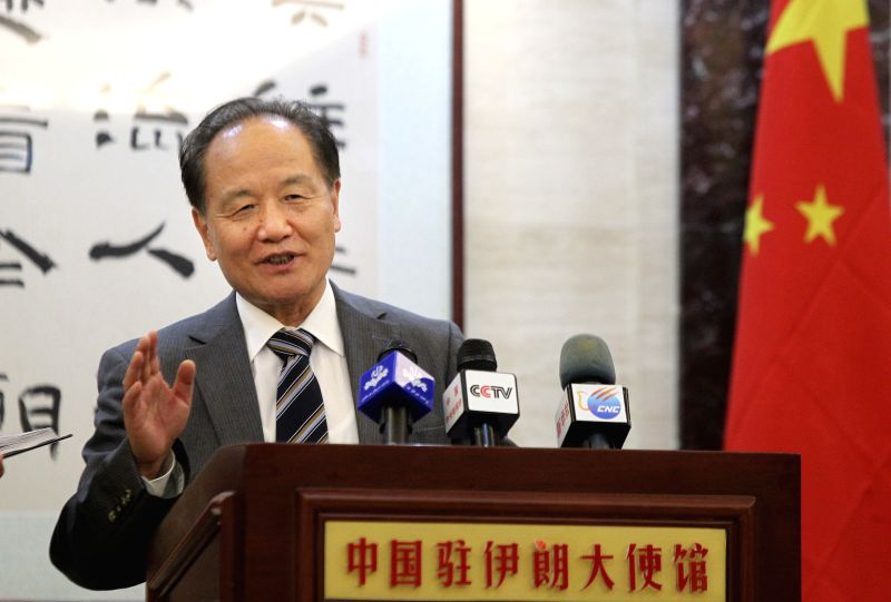 Chinese Middle East envoy Wu Sike speaks during a press conference at Chinese embassy in Tehran, Iran, on July 14, 2014. Wu Sike said here on Monday China supports ..
