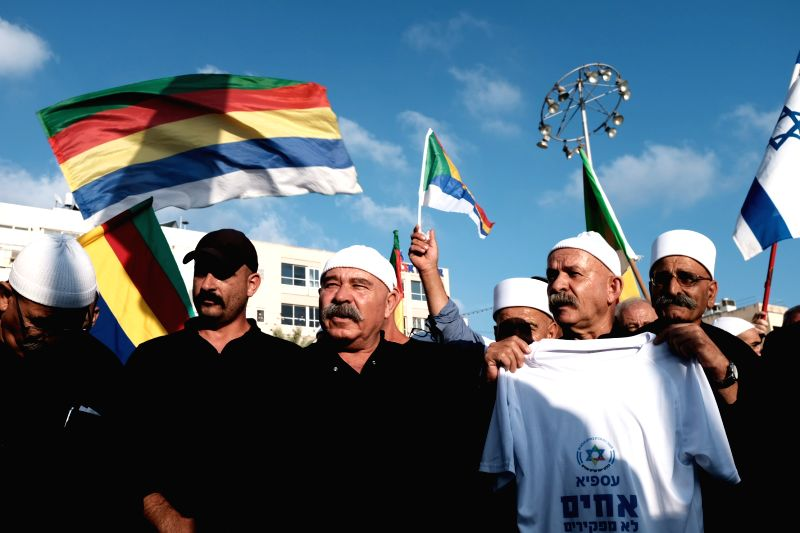 """TEL AVIV, Aug. 4, 2018 - Druze community members in Israel protest against the controversial """"Jewish nation-state"""" law at Rabin Square in Tel Aviv, Israel, on Aug. 4, 2018. Israel passed a ..."""