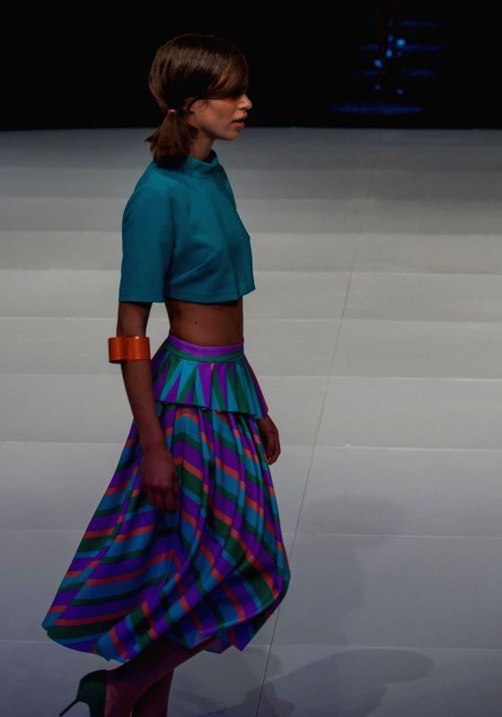 A model presents a creation during Renuar Fashion Show 2015 in Tel Aviv, Israel, on Jan. 26, 2015.