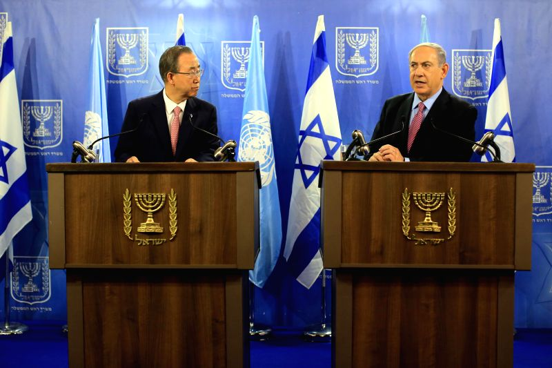 Visiting UN Secretary-General Ban Ki-moon (L) and Israeli Prime Minister Benjamin Netanyahu attend a joint news conference in Tel Aviv, Israel, on July 22, 2014. ..