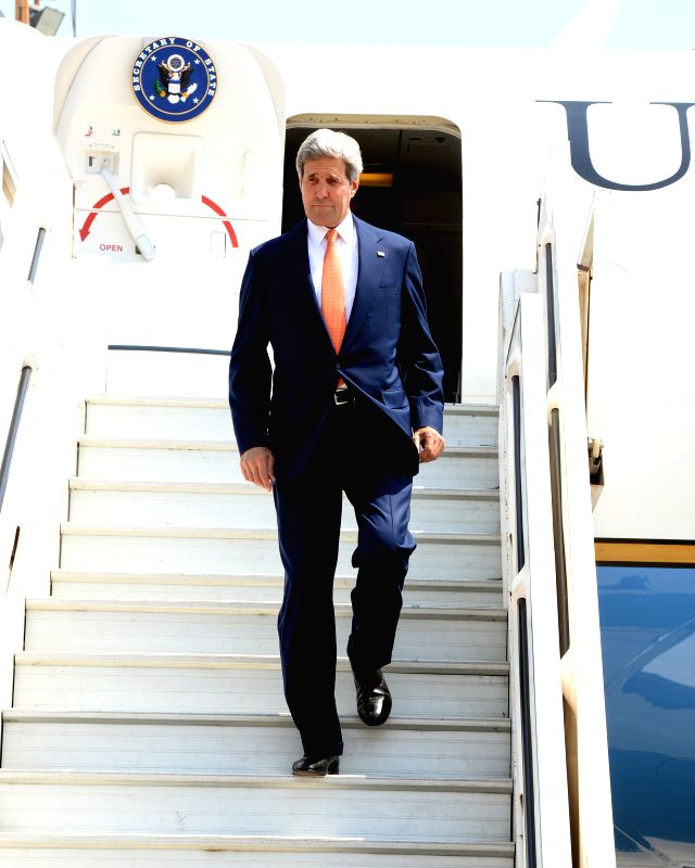U.S. Secretary of State John Kerry arrives at Ben Gurion Airport near Tel Aviv, Israel, on July 23, 2014. John Kerry arrived in Israel on Wednesday to boost ...