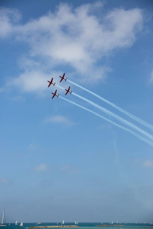 TEL AVIV, May 2, 2017 - Israeli air force airplanes perform during an air show celebrating the Independence Day in Tel Aviv, Israel, on May 2, 2017. Israel was celebrating its Day of Independence on ...